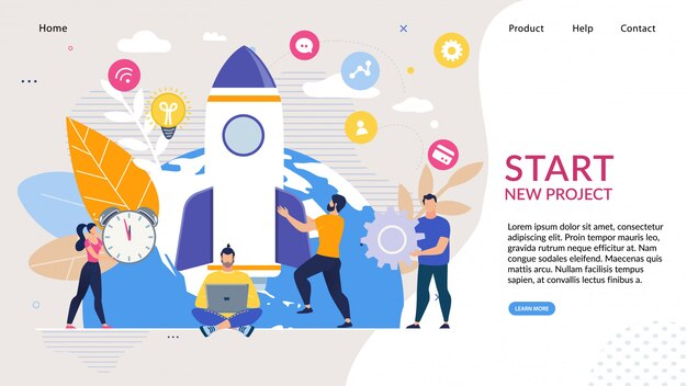 ビジネススタートアップのアイデアを持つランディングページ