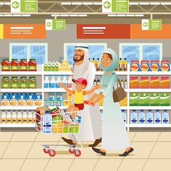 イスラム教徒の家族ショッピング漫画ベクトルの概念