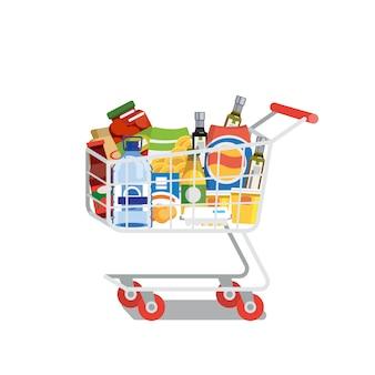 ショッピングカートいっぱい食べ物分離フラットベクトル