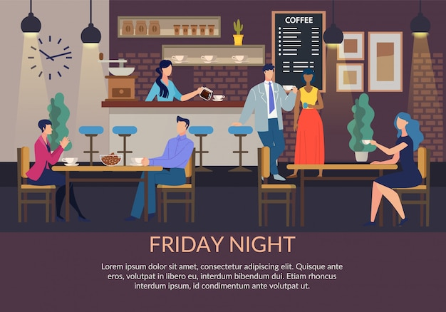 Текстовый плакат с приглашением на вечер пятницы