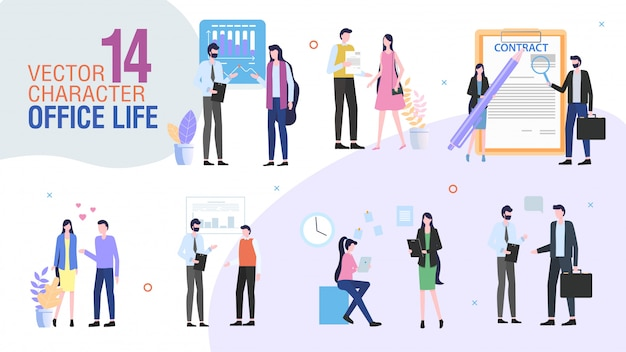 Плоский набор символов работников офиса компании