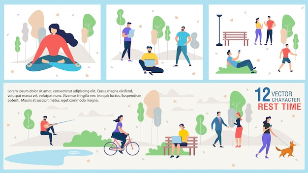 Город гражданин открытый отдых плоский векторная иллюстрация