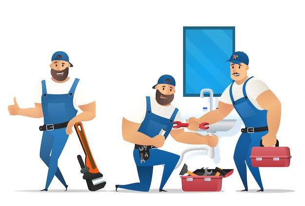 Векторная иллюстрация концепция сантехник сервис