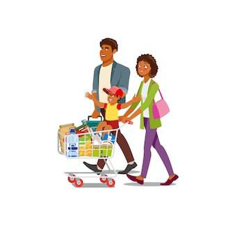 家族の食料品店で食べ物を買う漫画のベクトル