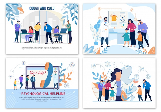 Плоские плакаты рекламы лечения больных людей