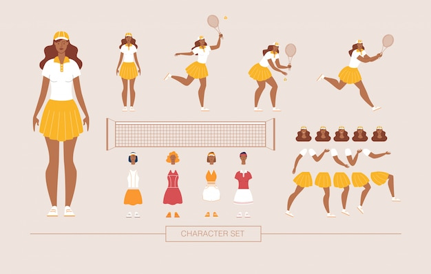 女子テニスプレーヤー文字ベクトルコンストラクター