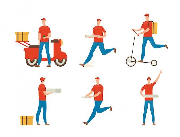 Набор плоских персонажей для доставки пиццы