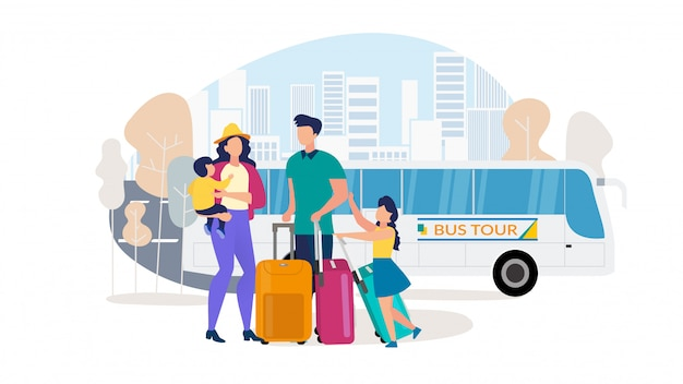 Семейные путешествия на автобусной экскурсии с плоским векторный концепт