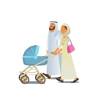 ベビーカーベクトルと一緒に歩いているイスラム教徒の家族