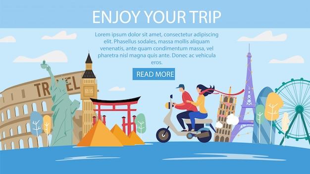 Плоская веб-страница предложения путешествий для молодоженов