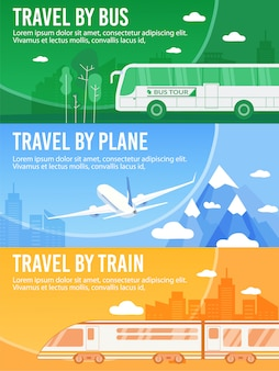 Набор заголовков баннеров автобус, поезд, самолет