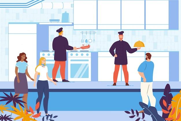 Кулинарный кулинарный курс на кухне ресторана