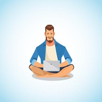 Человек, используя ноутбук для работы и весело мультфильм вектор