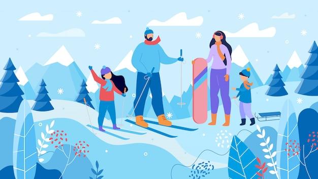 Семейные лыжи, сноуборд на горнолыжном курорте
