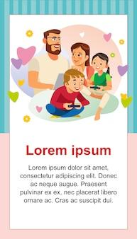 Счастливый день семьи с шаблоном поздравительной открытки для детей