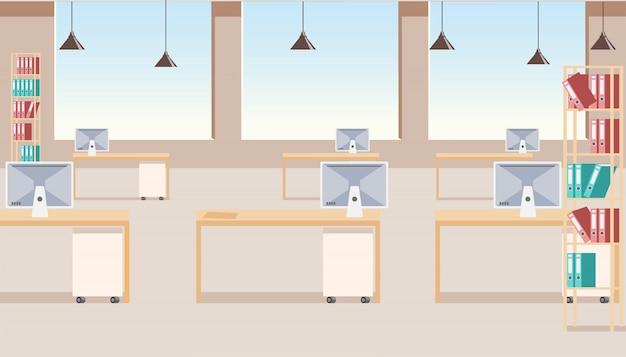 現代のビジネス会社のオフィスのインテリアのベクトル