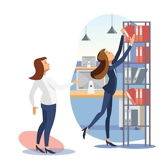 フラットベクトルを従業員に仕事を与える女性の上司