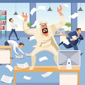 Злой босс кричит в хаосе на своих подчиненных