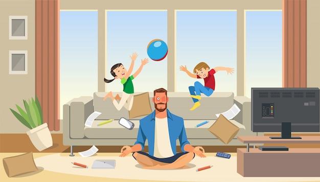 Отец в состоянии стресса с играющими детьми