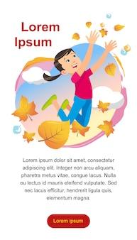 Девушка играет в парке, подбрасывая листья
