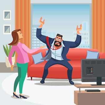 ストレスの多い家庭環境のベクトル画像