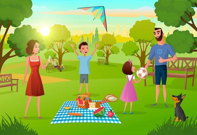 ピクニックを楽しんで幸せな家族