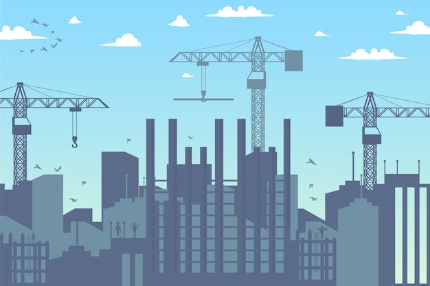 街の新地区のパノラマ建設