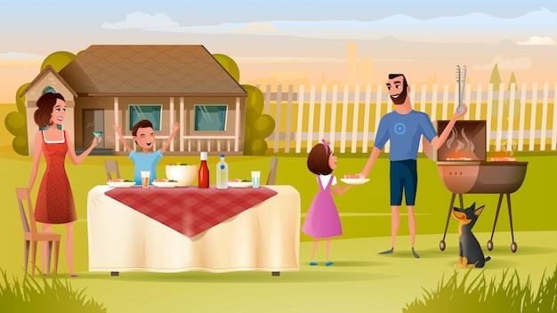 幸せな家族は休日の夕食を食べます