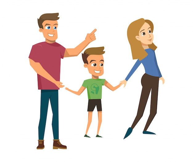 ベクトルイラスト漫画幸せな家族の概念