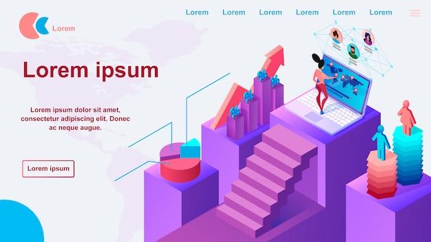 ビジネスマーケティングサービスのウェブサイトベクトルテンプレート