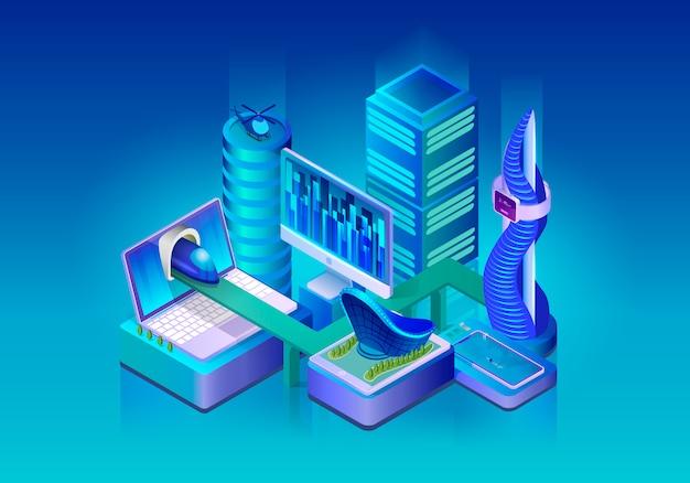 Умный город технологий изометрические вектор концепция