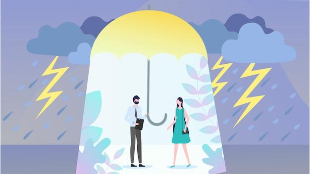 自然災害のための保険フラットベクトルの概念