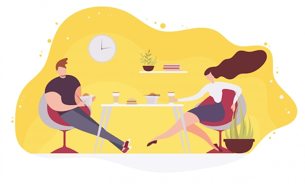 カフェでファーストフードを食べるカップルフラットベクトル