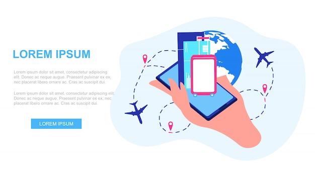 Векторная веб-страница сервиса международных авиалиний