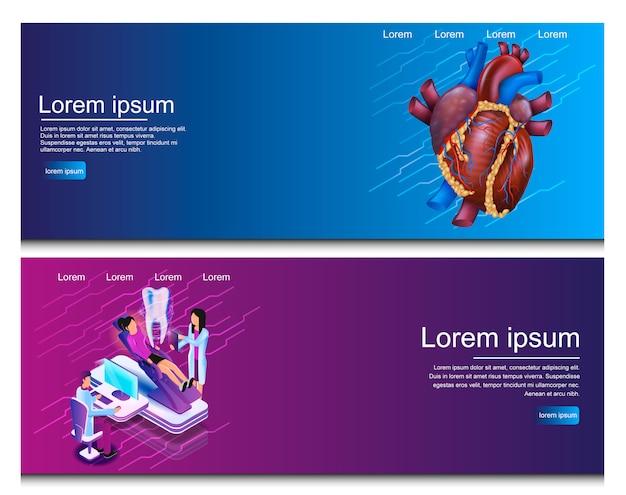 Изометрическая иллюстрация виртуальные медицинские исследования