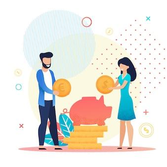Супружеская пара экономит деньги в копилке метафора