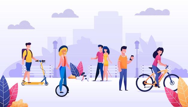 漫画人都市住人たちが屋外で過ごす時間イラスト。幸せな夏時間、公共の公園でのレクリエーション。ベクトルの男性と女性のキャラクターサイクリング、スクーティング、ウォーキング。健康的な生活様式
