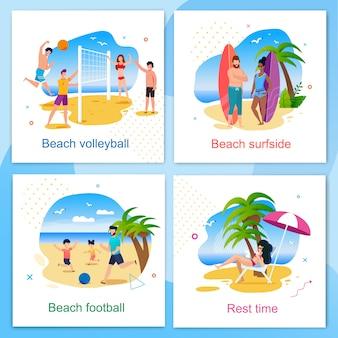 Отдых и активное время на пляже набор карт мультфильма. волейбол, футбол, зона для серфинга и отдыха. летний отдых и отдых на свежем воздухе. вектор активные люди веселятся