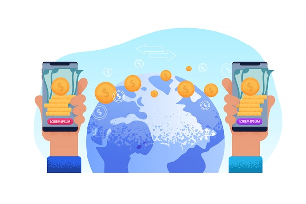 世界送金を送信します。テクノロジー電話ハンド