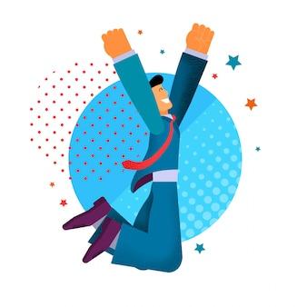 Счастливый бизнесмен танцы радость прыжки.