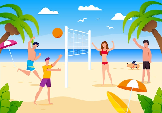 Счастливый мультфильм люди играют в пляжный волейбол на песке.