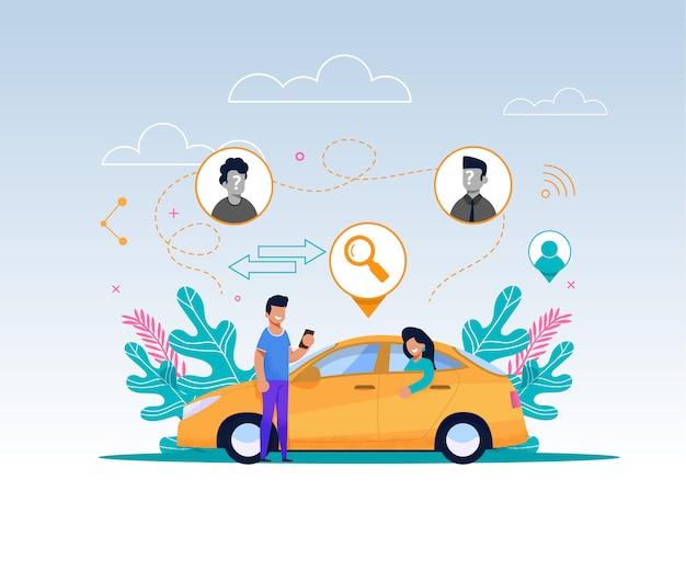 携帯電話での漫画男のキャラクターは、タクシーが乗るのを待ちます
