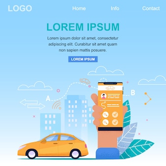 Веб-шаблон целевой страницы для службы онлайн-заявок на такси. желтый автомобиль в городской пейзаж и рука холдинг смартфон. заявка на бронирование поездки
