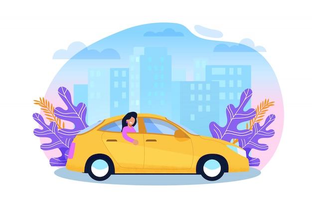 イエローキャブサービストレンドカラーのセダン漫画イラストの女性観光客。アーバンカープール交通タクシーの後部座席にいる乗客。ビジネスタウンビルの都市景観。フラットキャラクターチラシ。