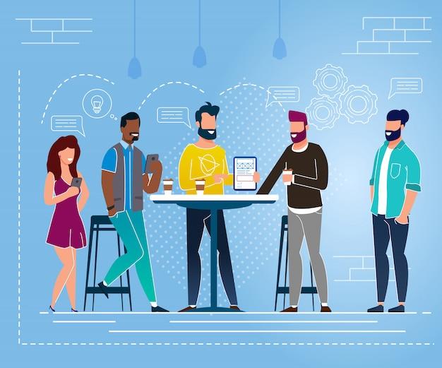 オフィスシチュエーションランチブレイクベクトルイラスト。若い人たちは喜んでテーブルに立って通信します。
