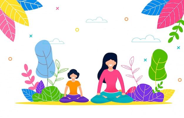 幸せママと娘はヨガのパックで屋外します。