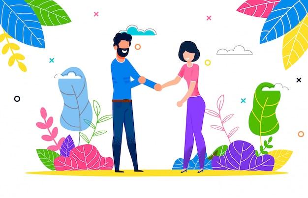 Счастливая молодая пара в любви мужчина и женщина на прогулке