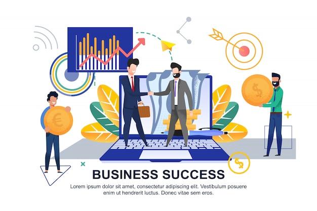 Плоский баннер бизнес успех на белом