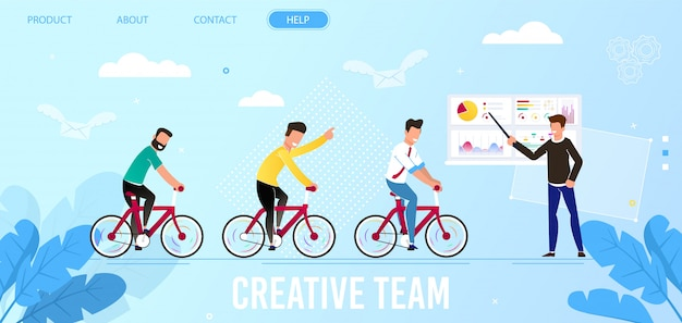 クリエイティブチームとリーダーシップのビジネスランディングページ