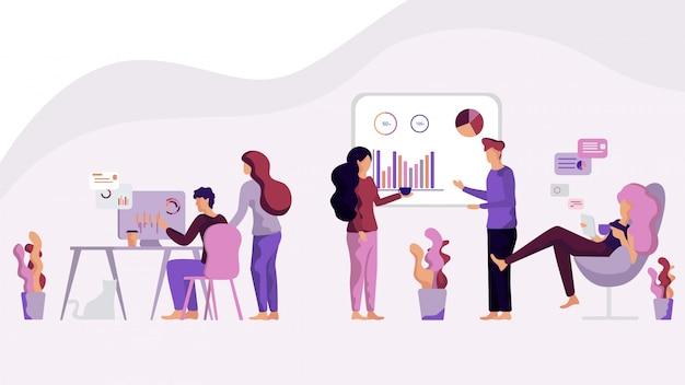 Иллюстрированная группа мужчины и женщины анализируют данные испытаний
